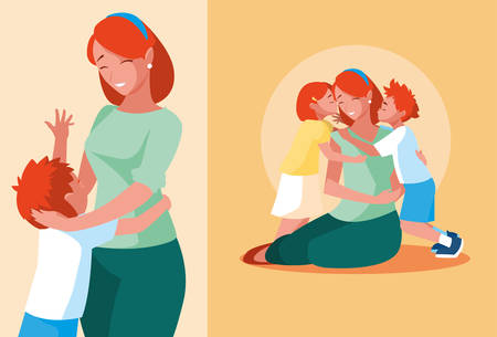 group of cute mothers and children vector illustration design Ilustração