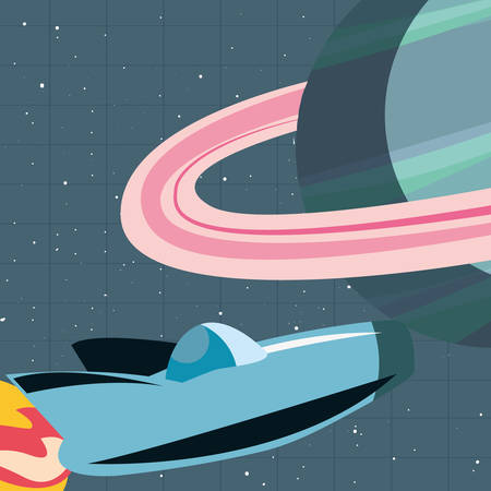 launcher rocket with planets space vector illustration