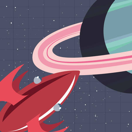 spaceship planet exploration astronomy vector illustration design
