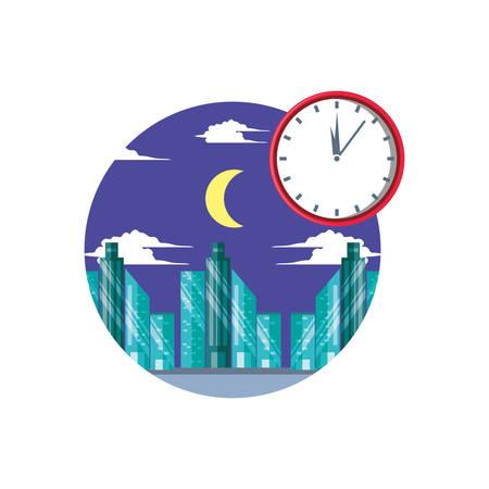 cityscape scene night with clock time vector illustration design
