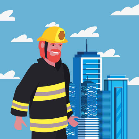 fireman with board labour day vector illustration