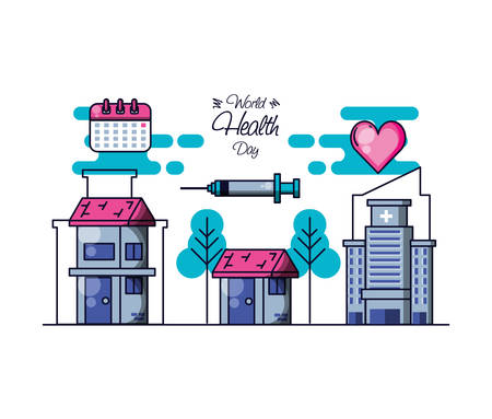 world health day with hospital structure and set icons vector illustration design Illustration