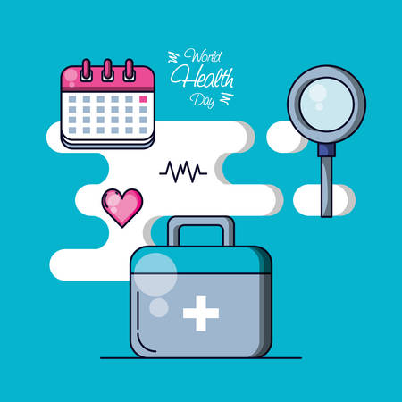 world health day with first aid kit and set icons vector illustration design