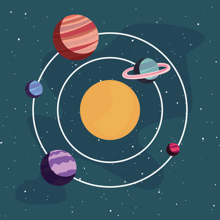 system solar planet galaxy astronomy vector illustration