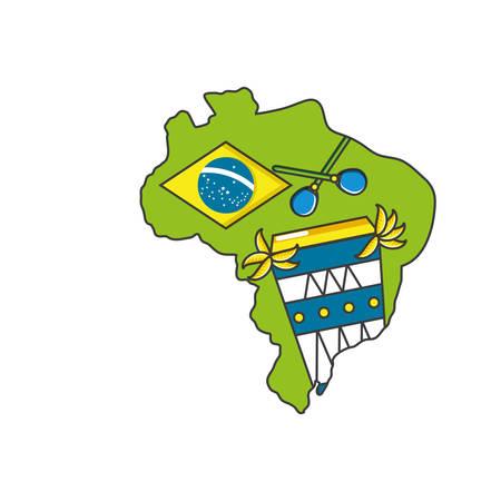 bongo drum instrument with map of brazil vector illustration design