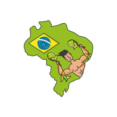 man brazilian dancer with maracas and map of brazil vector illustration design