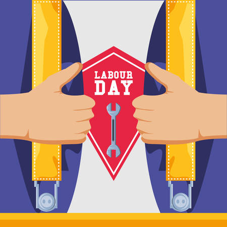 labour day with overalls and tool vector illustration design