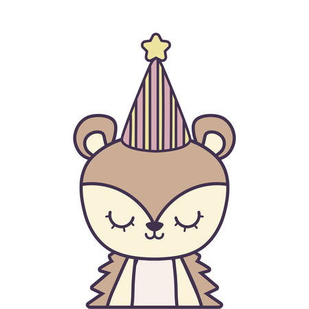 cute porcupine animal with hat party vector illustration design Illustration
