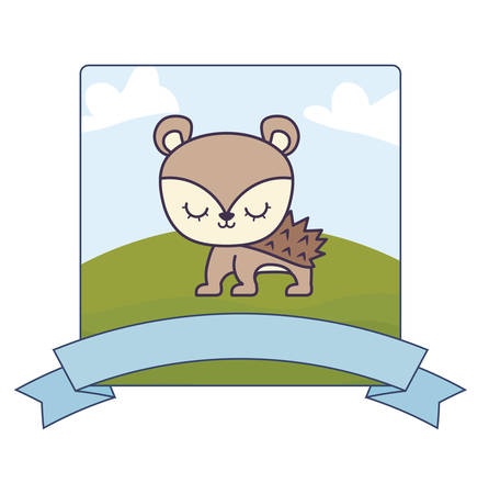 cute porcupine in landscape with frame and ribbon vector illustration design