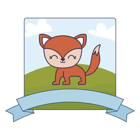 cute fox in landscape with frame and ribbon vector illustration design Vectores