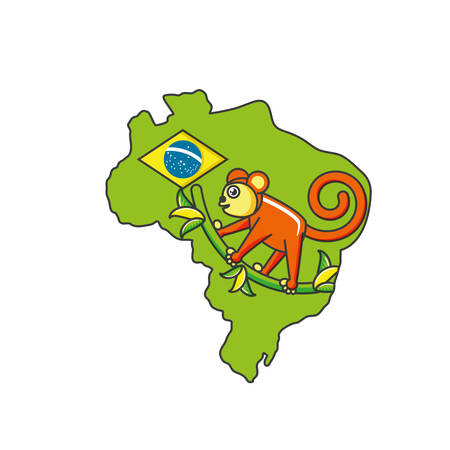 monkey animal with map of brazil vector illustration design