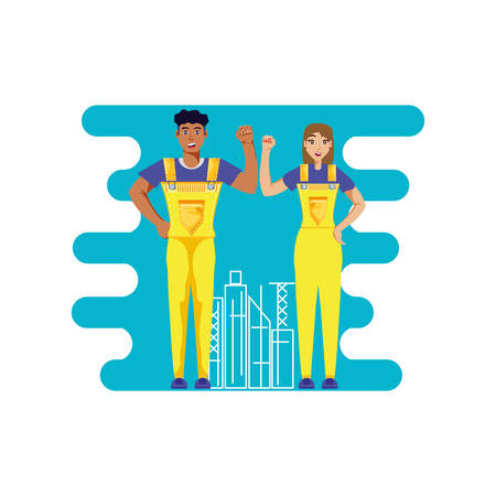 worker construction couple avatar character vector illustration design