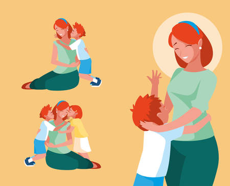 group of cute mothers and children vector illustration design Illustration