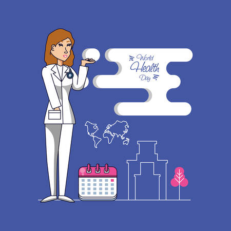 world health day with female surgeon and set icons vector illustration design