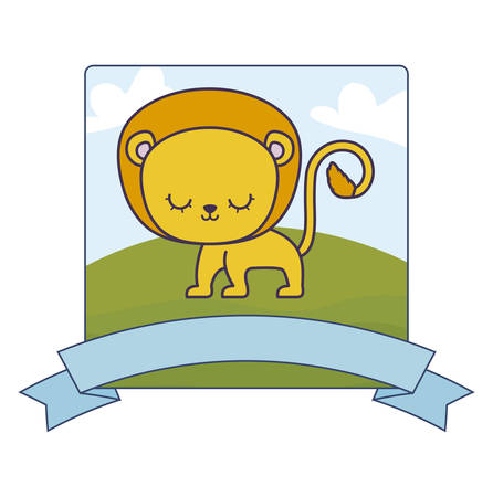 cute lion in landscape with frame and ribbon vector illustration design Vectores