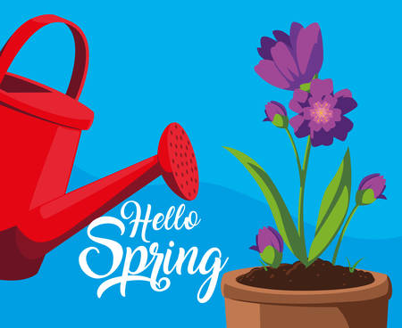 hello spring card with flowers and sprinkler plastic pot vector illustration design