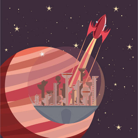 rocket spaceship futire city stars galaxy vector illustration