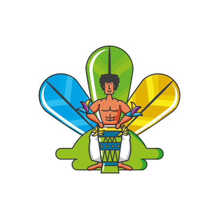 man brazilian dancer with drum bongo and tropical feathers vector illustration design