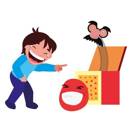 boy box humor april fools day vector illustration 일러스트