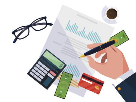 businessman hands working with supplies vector illustration design