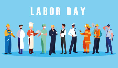 labour day celebration with group professionals vector illustration design