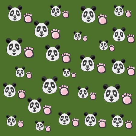 bear panda with pawprint pattern vector illustration design