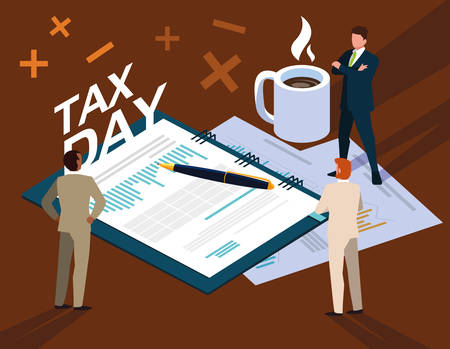 businessmen in tax day with planner and icons vector illustration design