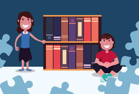 man and woman with bookshelf books autism day vector illustration 일러스트