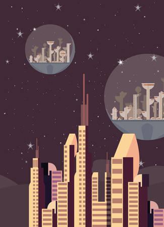 future building architecture city space vector illustration