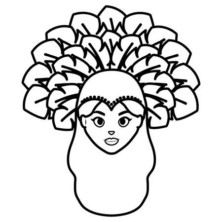 beautiful brazilian garota head character vector illustration design Illustration