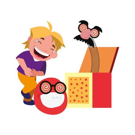 boy emoji box april fools day vector illustration Illustration