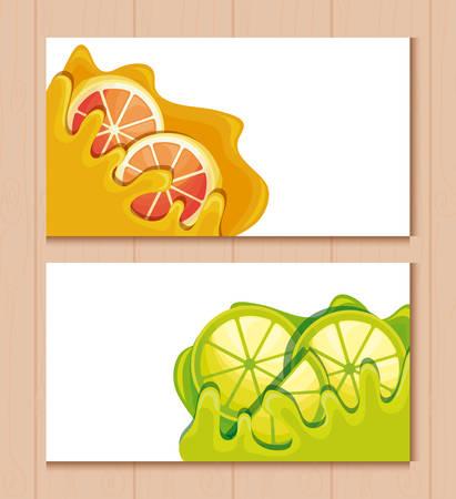 cards and fresh oranges with lemons sliced fruit vector illustration design Illustration