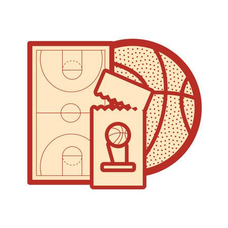 basketball sport ball court floor ticket vector illustration Ilustração