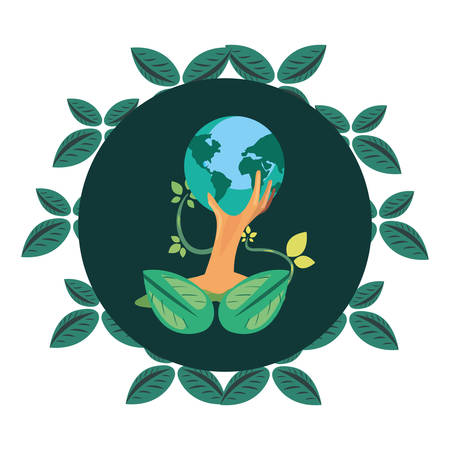 trunk tree foliage badge earth day vector illustration