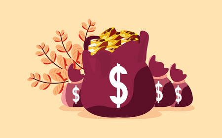 money bag coins stacked banking  vector illustration