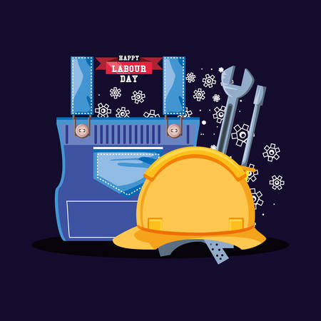 happy labour day with security helmet and icons vector illustration design Illustration