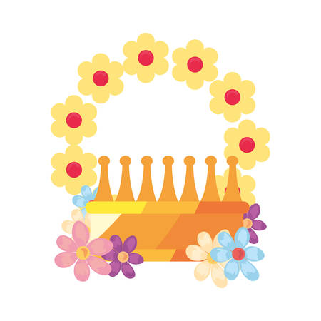 crown luxury flower on white background vector illustration