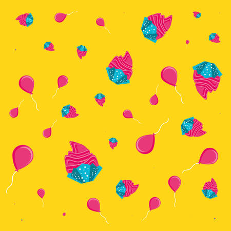 pattern of cupcakes and balloons helium vector illustration design Çizim