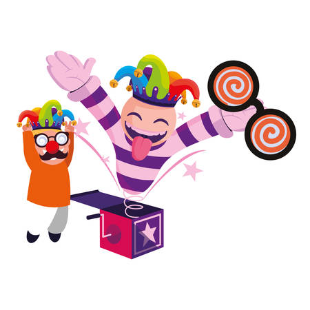 boy jack in the box april fools day vector illustration