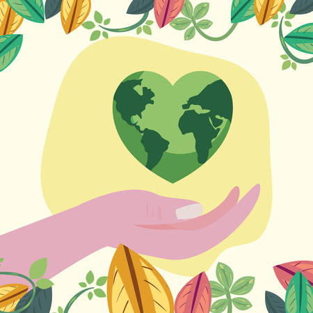 hand with world shaped heart happy earth day vector illustration