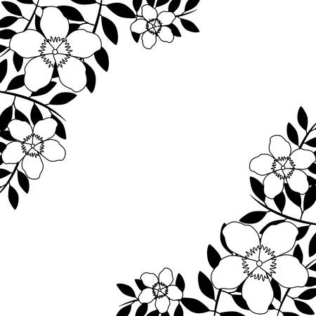 frame of beautiful flowers with branches and leafs vector illustration design Vector Illustration