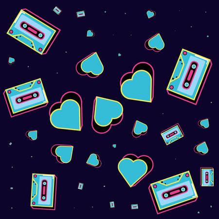 pattern cassettes tape of nineties icon vector illustration design