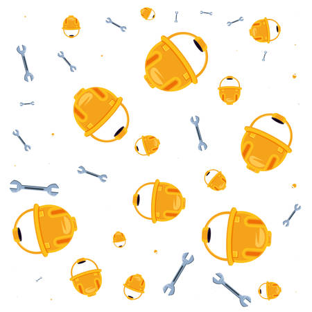 pattern of helmets construction with wrenches vector illustration design