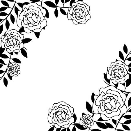 frame of beautiful flowers with branches and leafs vector illustration design
