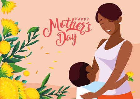 happy mother day card with mom black and son vector illustration design