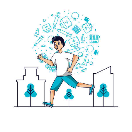 man athletic running with set icons vector illustration design Illustration