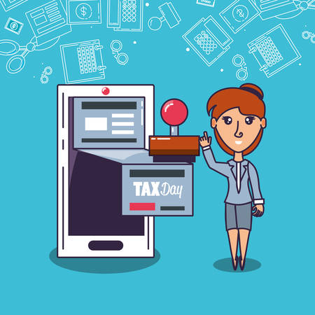 tax day with businesswoman and set icons vector illustration design Stock Illustratie