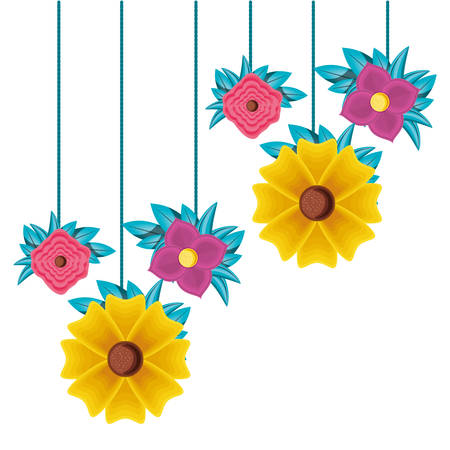 beautiful flowers with leafs hanging vector illustration design Illustration