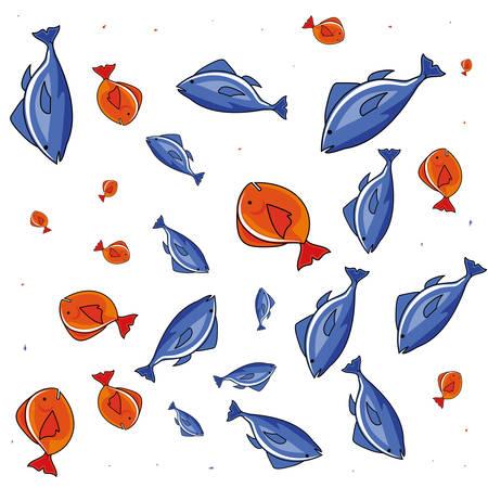 fresh fish food pattern vector illustration design