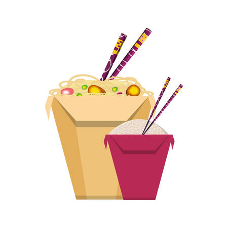 spaghetti and rice in box container chinese food icon vector illustration design